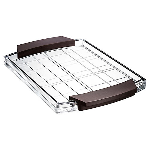 Street Serving Tray, Clear/Brown