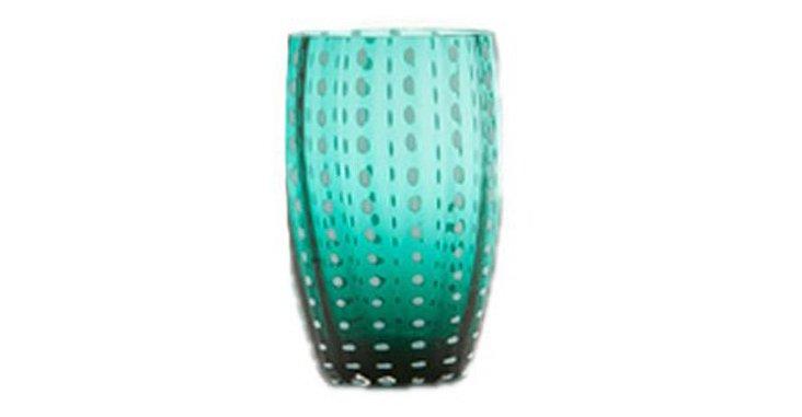 S/6 Perle Wineglasses, Blue
