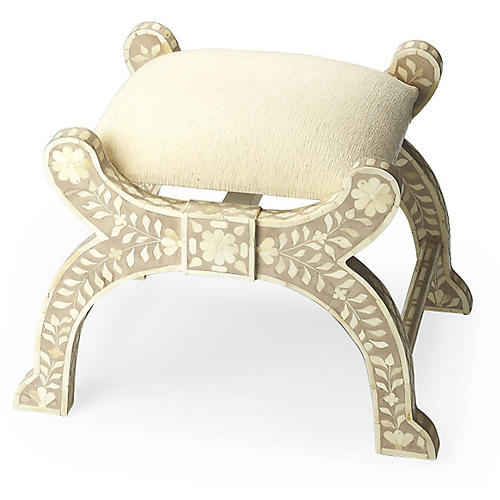 Naxos Bone-Inlay Stool, Sand/Ivory