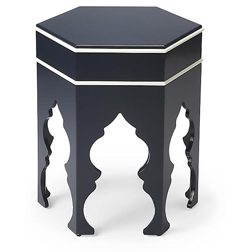 Jasper Moroccan Side Table, Navy/White