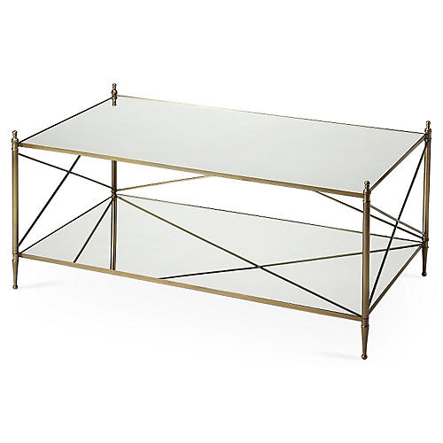Tiverton Mirrored Coffee Table, Gold