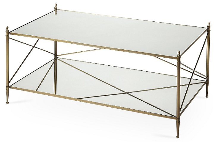 Tiverton Mirrored Coffee Table Gold