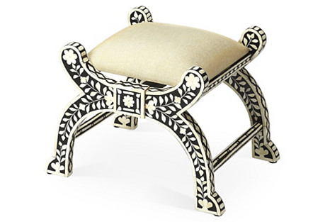 Naxos Bone-Inlay Stool, Black/Ivory