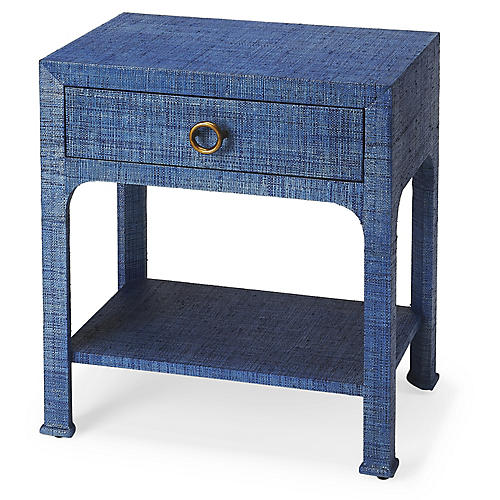 Kos 1-Drawer Raffia Nightstand, Indigo