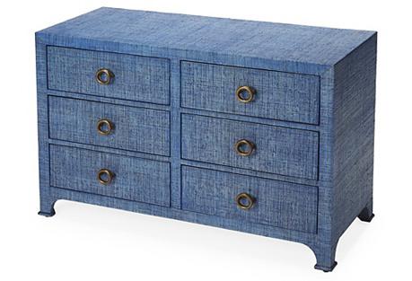 Kos Raffia 6-Drawer Dresser, Indigo