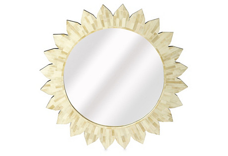 Sunburst Bone-Inlay Wall Mirror, White