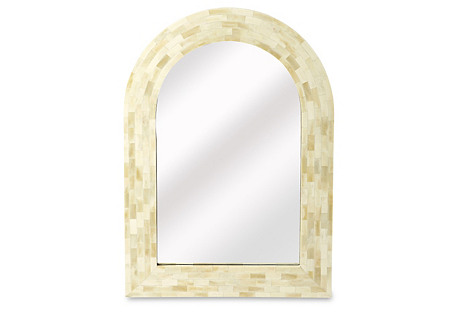 Arched Bone-Inlay Wall Mirror, White