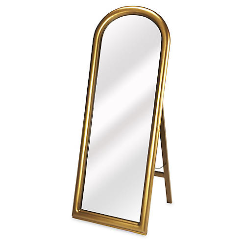 "Arched 24""x65"" Floor Mirror, Gold"