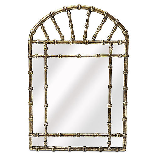 Paola Wall Mirror, Antiqued Gold