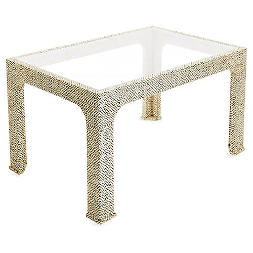 Kos Raffia Coffee Table, Natural/Black