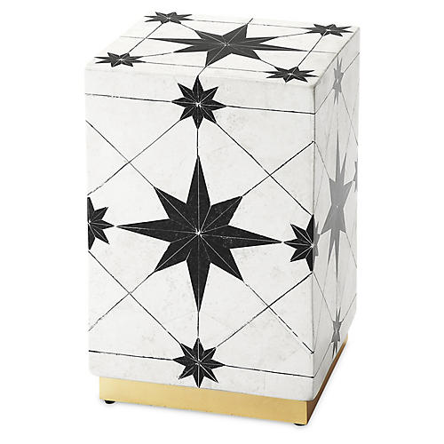 Attala Mosaic Stone Side Table, Black/White