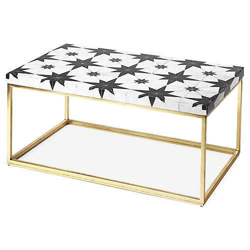 Attala Mosaic Stone Coffee Table, Black/White