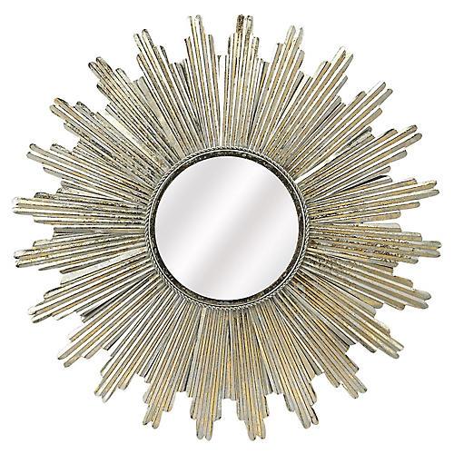 Soleil Sunburst Wall Mirror, Silver