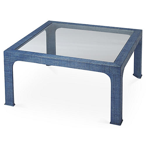 Kos Raffia Coffee Table, Indigo