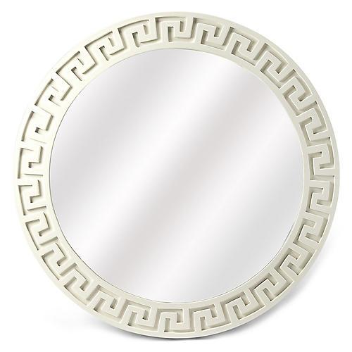 Athena Round Wall Mirror, Ivory