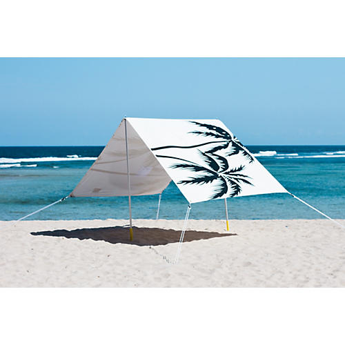 Palm Trees Beach Tent, Black/White