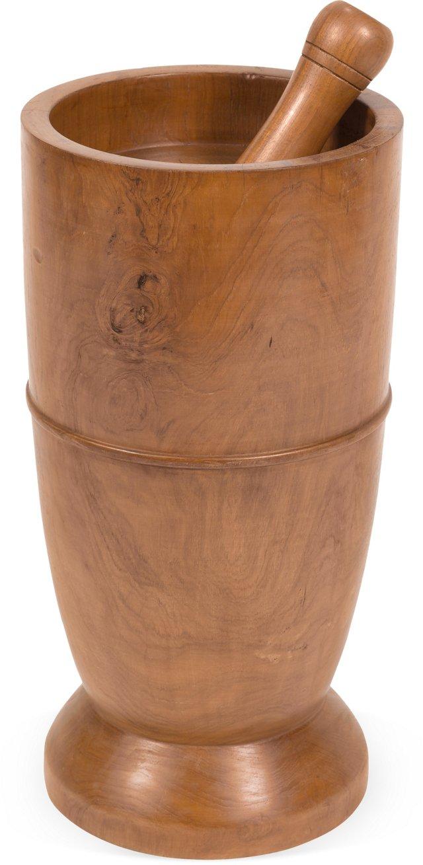 Large Teak Mortar & Pestle