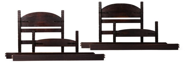 Monterey Old Wood Twin Beds, Pair