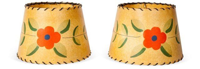 Hand-Painted Lamp Shades, Pair