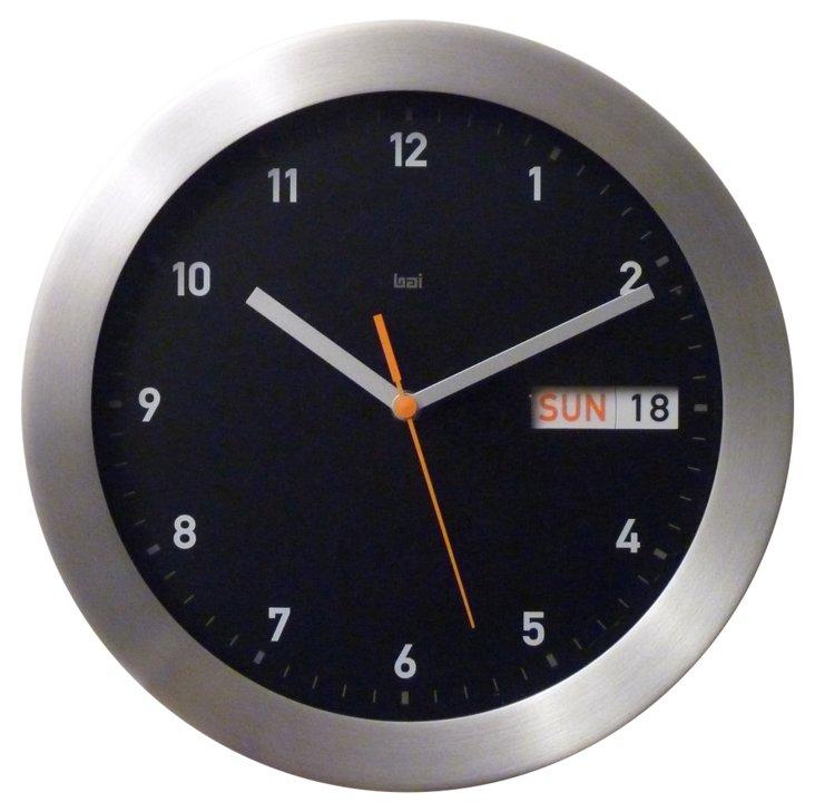 Zander Day/Date Wall Clock, Black