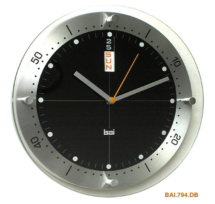 Bryan Day/Date Wall Clock, Black