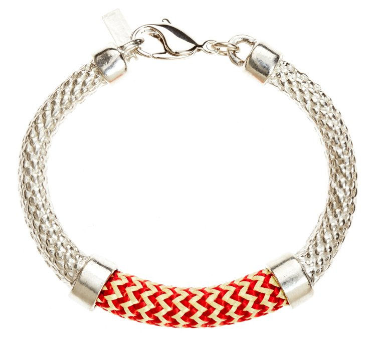 Crosby Bracelet, Silver/Red