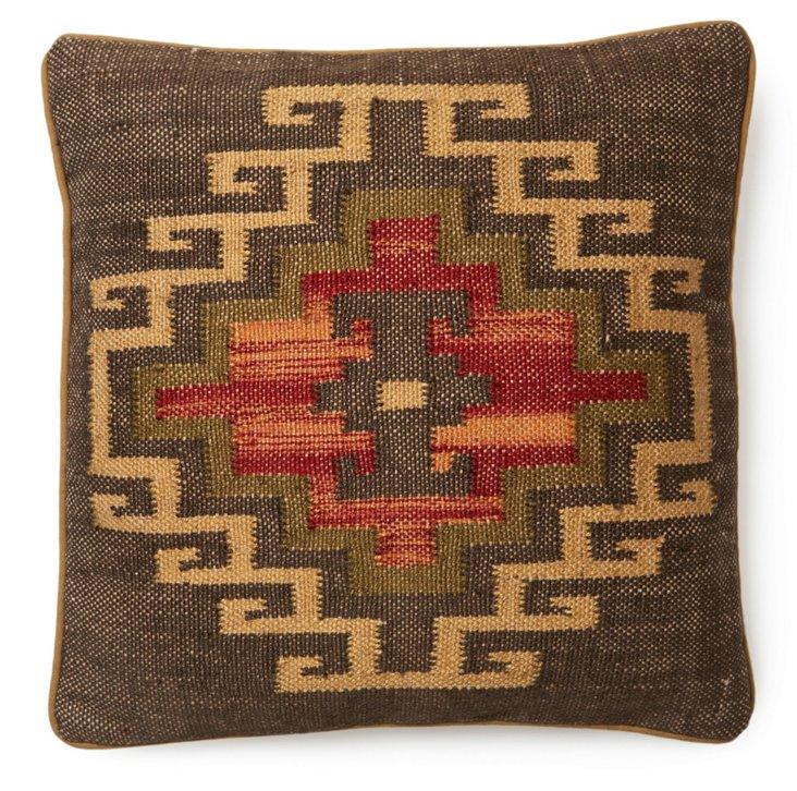 Mohegan 20x20 Jute-Blended Pillow, Red