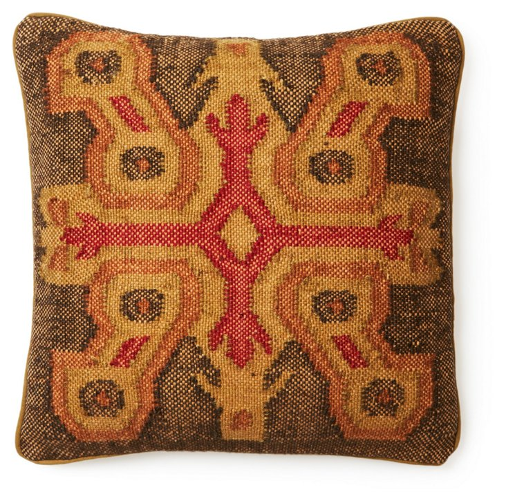 Persia 20x20 Jute-Blended Pillow, Red