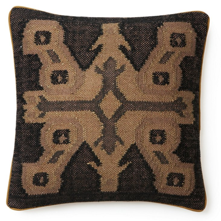 Persia 20x20 Jute-Blended Pillow, Brown