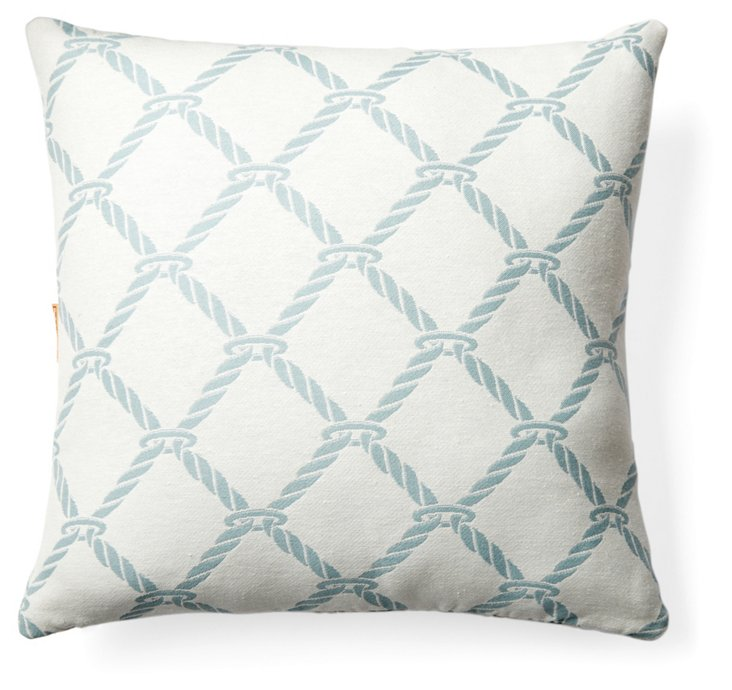 Nautical Rope Pillow, Surf Blue