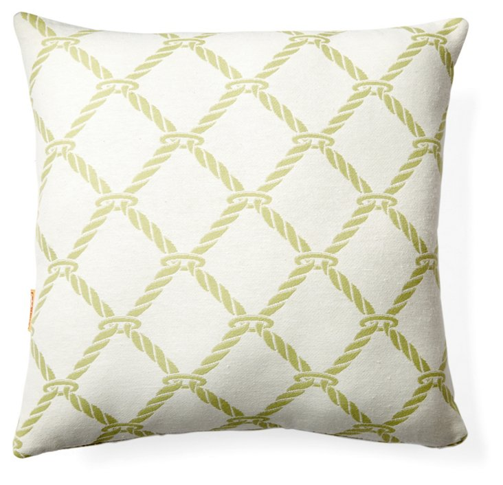 Nautical Rope Pillow, Green