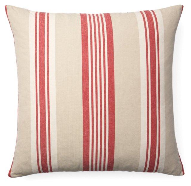 Cabana Stripe Cotton Pillow, Red