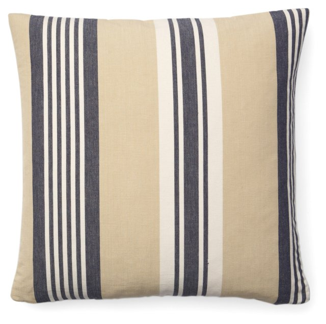 Cabana Stripe Cotton Pillow, Navy