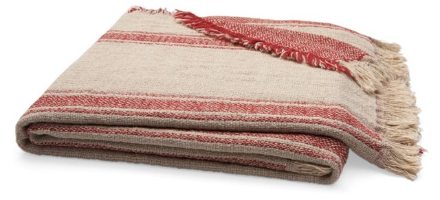 Vintage Cotton Reversible Throw, Red