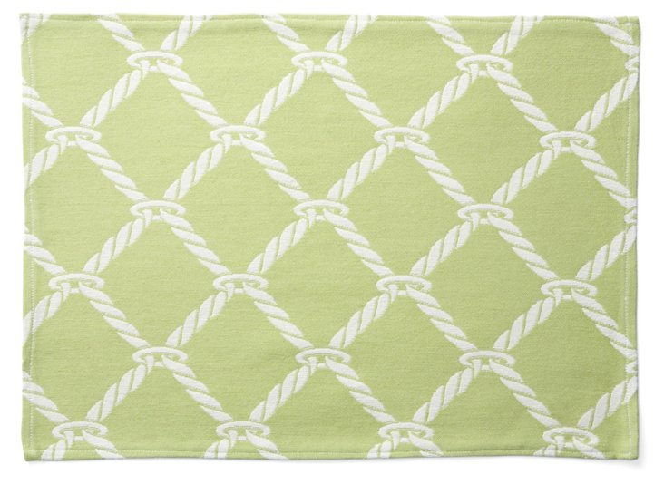S/4 Nautical Rope Place Mats, Green