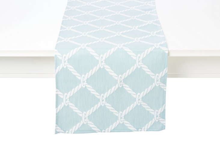 Nautical Rope Table Runner, Surf Blue