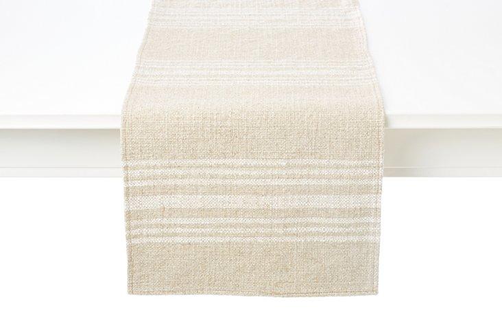 Linen Hobie Stripe Table Runner, Ivory