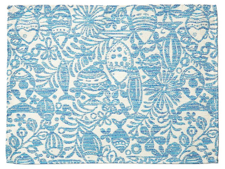 S/4 Fish Place Mats, Blue