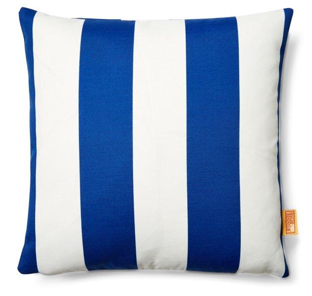 Striped 18x18 Outdoor Pillow, Blue