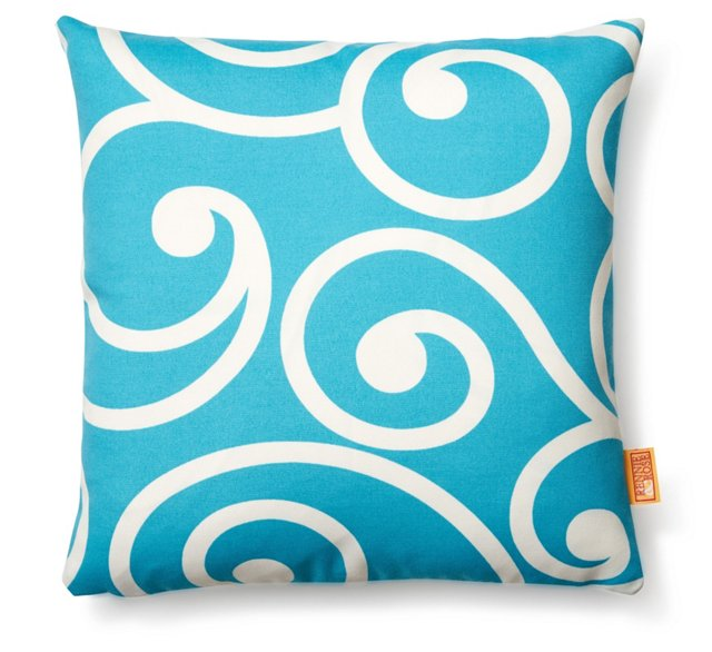 Vine 18x18 Outdoor Pillow, Turquoise