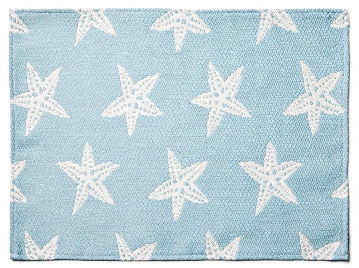 S/4 Starfish Place Mats, Blue