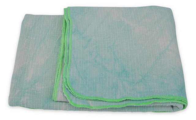 Hand-Dyed Blanket w/ Box, Mint & Green
