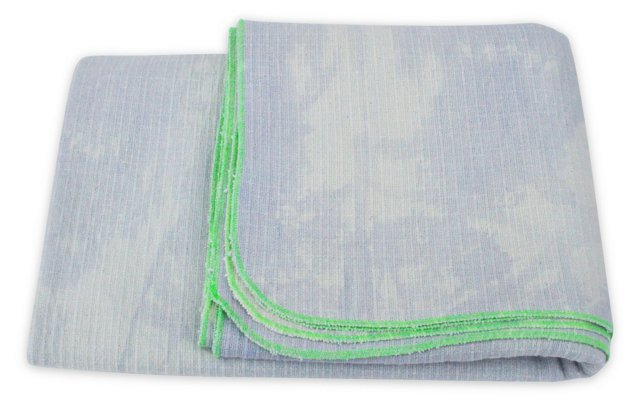 Hand-Dyed Blanket w/Box, Blue & Green