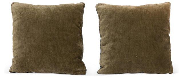 Linen Velvet Pillows, Pair