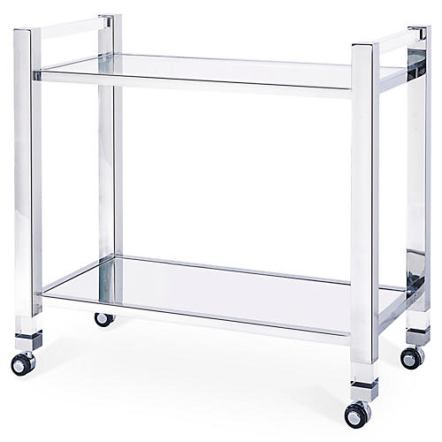 Santa Monica Acrylic Bar Trolley, Silver
