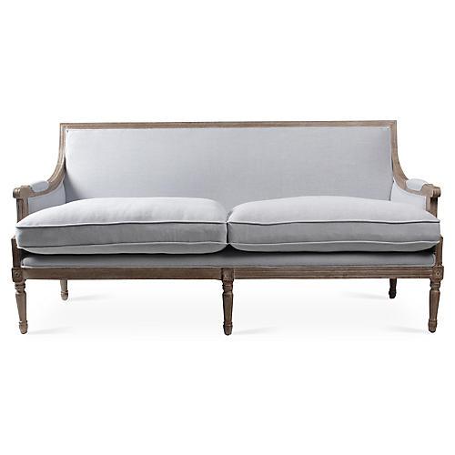 "Cece 71"" French Sofa, Blue/Gray Linen"