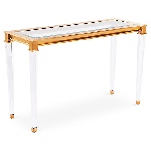 """Presley 48"""" Steel Console, Gold"""