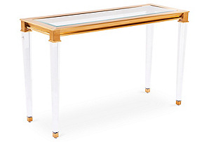 "Presley 48"" Steel Console, Gold*"