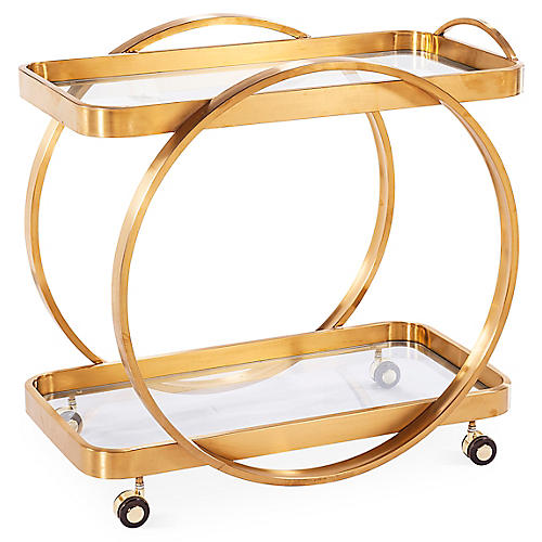 "Connery 32"" Steel Bar Cart, Gold"