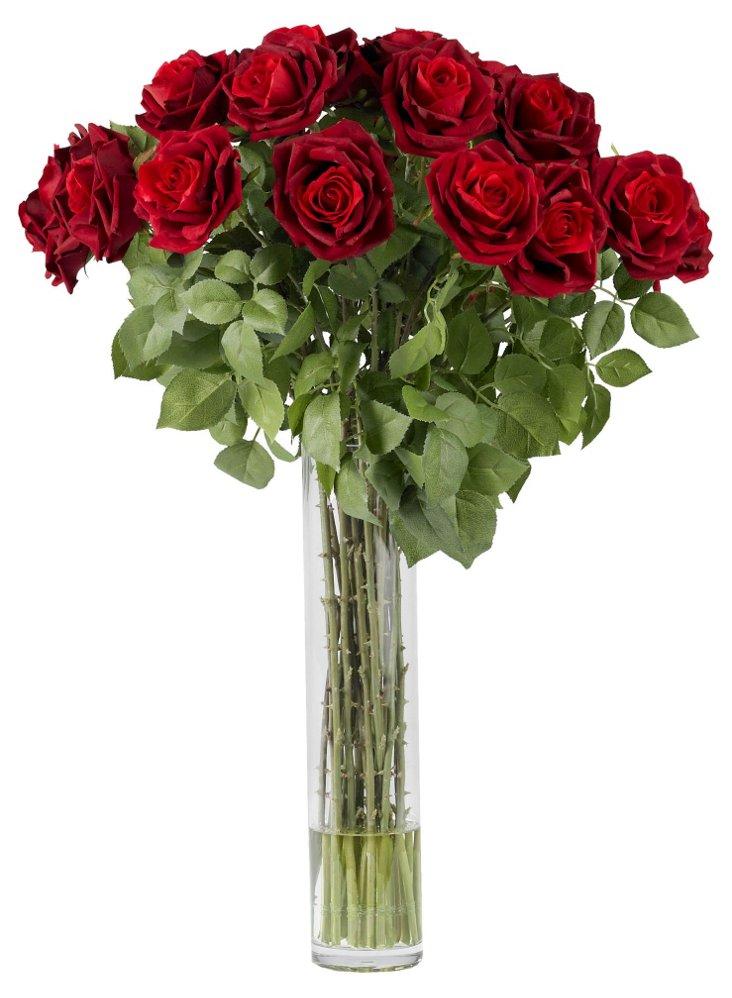 """30"""" Roses in Vase, Red"""